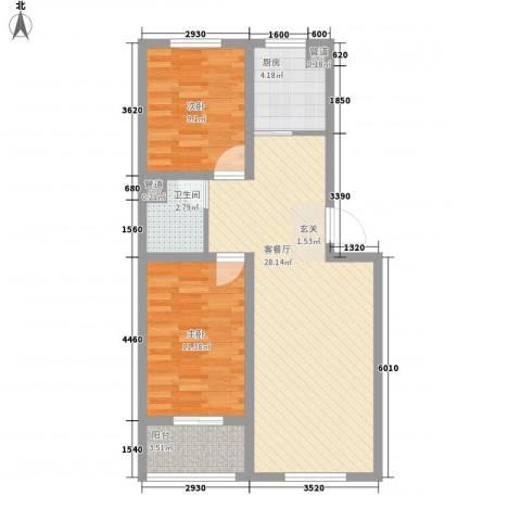 福星家园2室1厅1卫1厨86.00㎡户型图