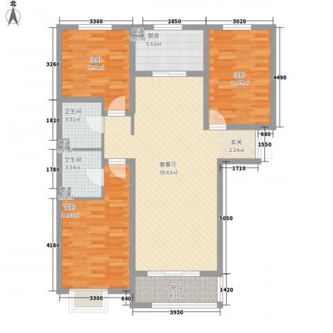 都市馨居3室1厅2卫1厨128.00㎡户型图