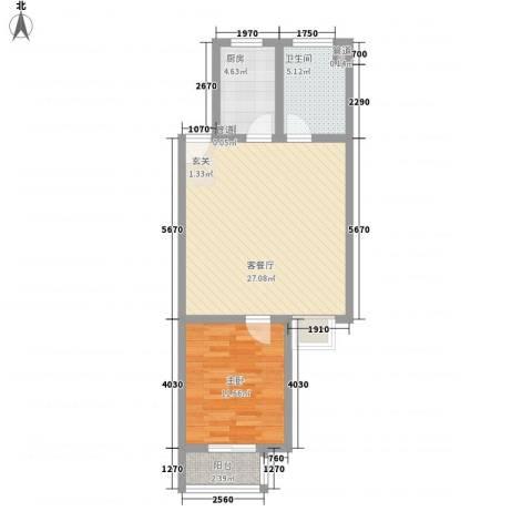 东岸酷博1室1厅1卫1厨75.00㎡户型图