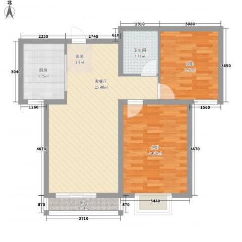 都市馨居2室1厅1卫1厨88.00㎡户型图