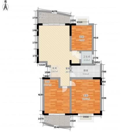 澳城118英尺3室1厅1卫1厨119.00㎡户型图