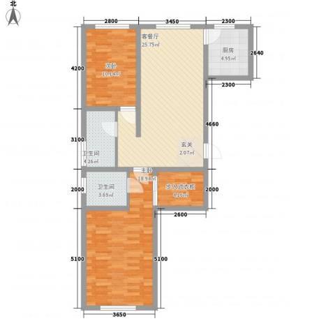南岸名苑2室1厅2卫1厨71.89㎡户型图