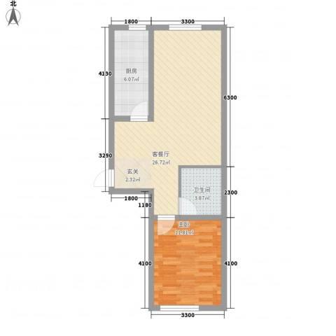南岸名苑1室1厅1卫1厨79.00㎡户型图
