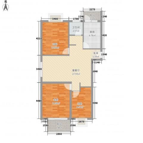 枫情国度佳园3室1厅1卫1厨111.00㎡户型图