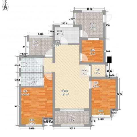 首创悦府3室1厅2卫1厨116.00㎡户型图