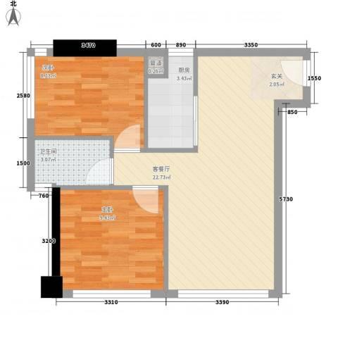 领汇国际公寓2室1厅1卫1厨66.00㎡户型图