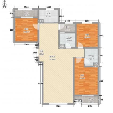 超高压综合家属楼3室1厅2卫1厨151.00㎡户型图