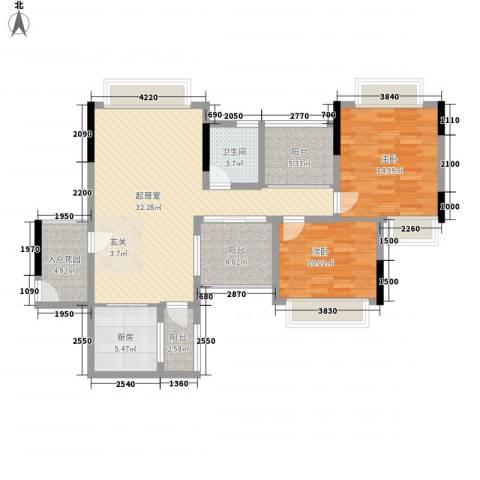 世纪城国际公馆香榭里2室0厅1卫1厨122.00㎡户型图