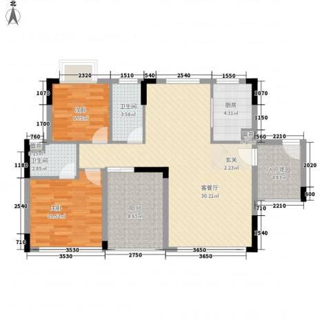鼎湖森邻2室1厅2卫1厨103.00㎡户型图