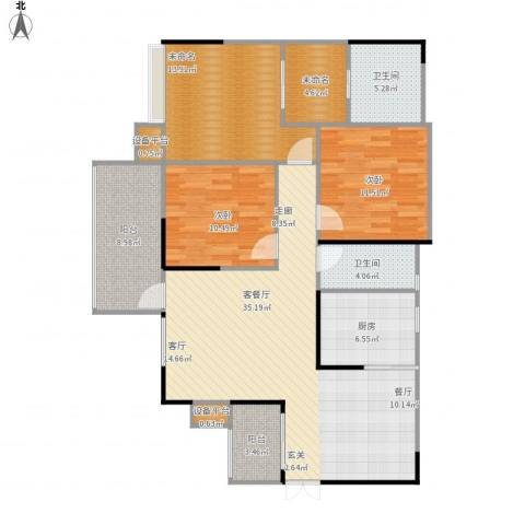 龙湾上城2室1厅2卫1厨143.00㎡户型图