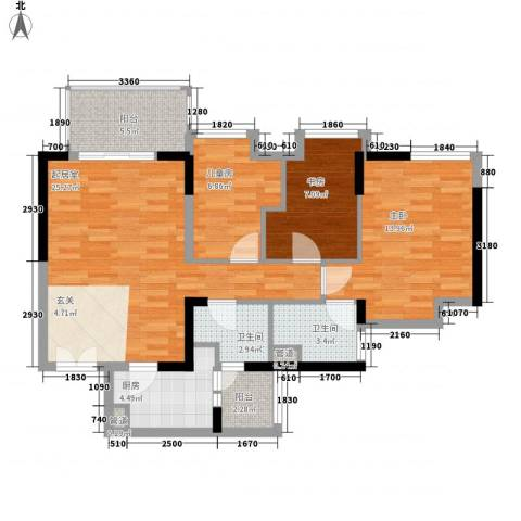 华凯豪庭3室0厅2卫1厨105.00㎡户型图