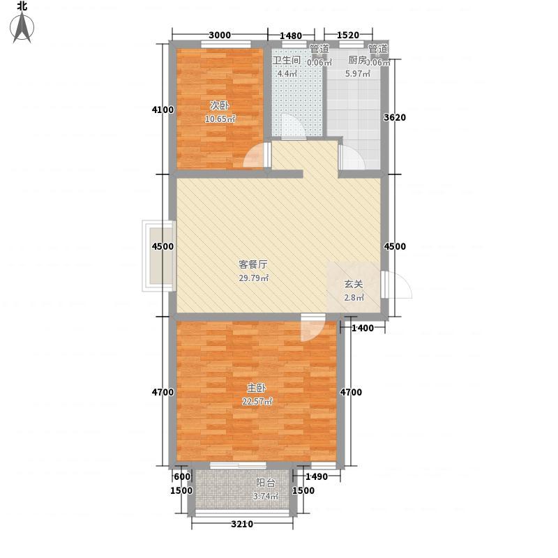 万和金城112.88㎡5#楼西3户型2室2厅1卫1厨