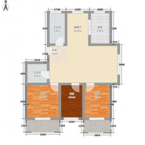 丰泽苑3室1厅2卫1厨86.40㎡户型图