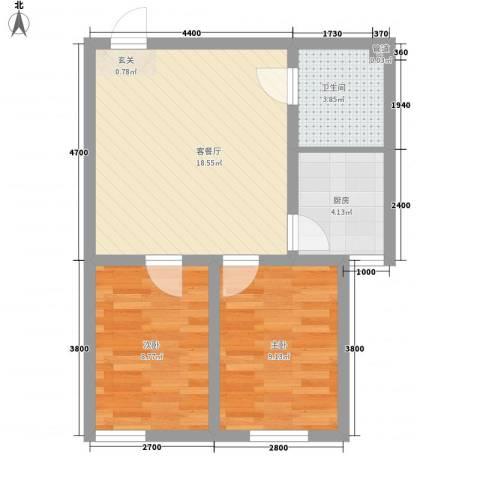 湖里大唐世家二期2室1厅1卫1厨64.00㎡户型图