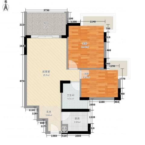新中银花园2室0厅1卫1厨78.00㎡户型图