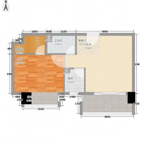 博林金谷四期1室1厅1卫1厨73.00㎡户型图