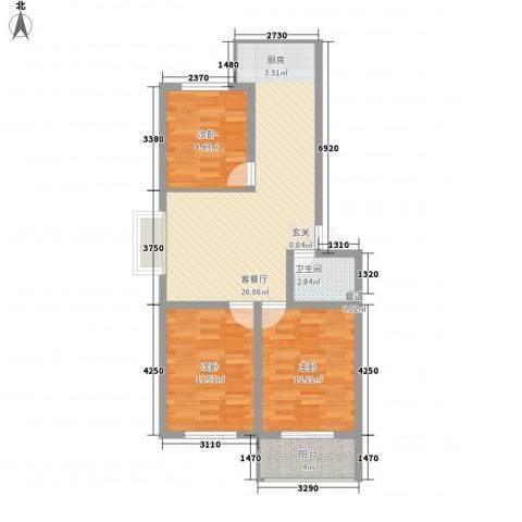 蓝钻公寓3室1厅1卫0厨65.14㎡户型图