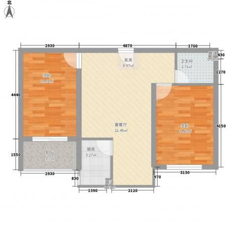 蓝钻公寓2室1厅1卫1厨77.00㎡户型图