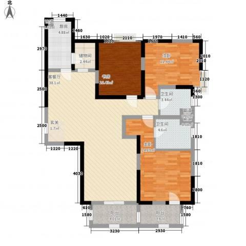 郦城国际3室1厅2卫1厨143.00㎡户型图