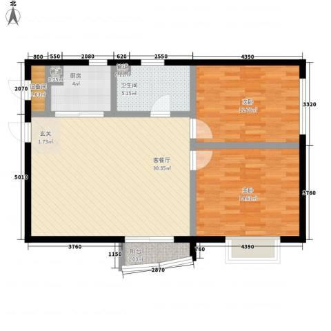 金爵世佳2室1厅1卫1厨101.00㎡户型图