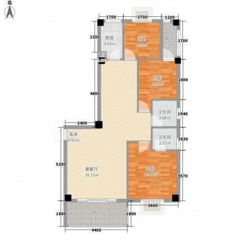 紫金家园3室1厅2卫1厨81.03㎡户型图