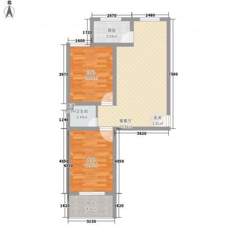 蓝钻公寓2室1厅1卫1厨81.00㎡户型图