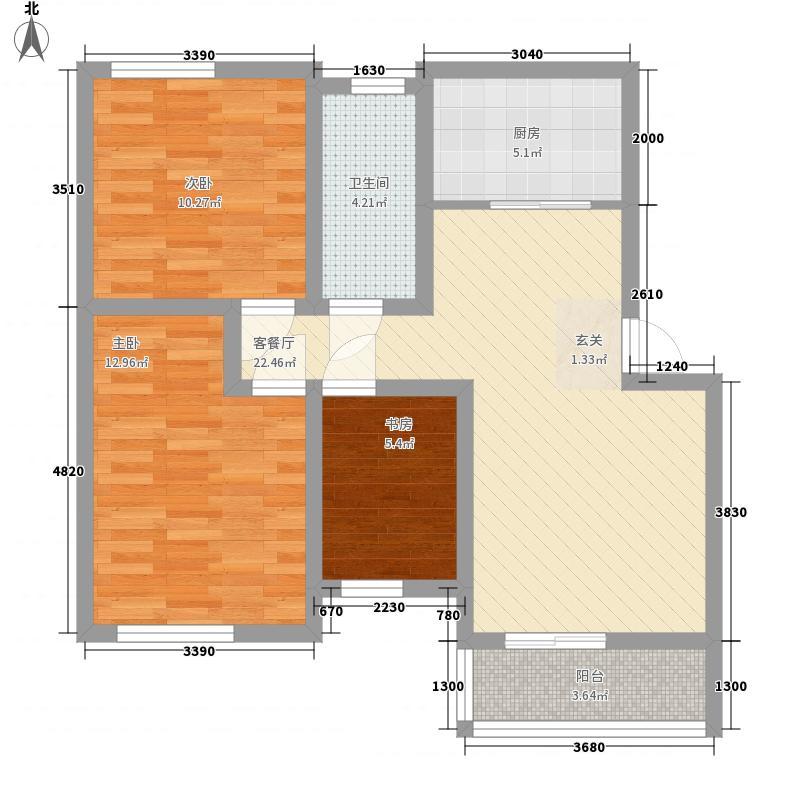 繁华里4.27㎡B户型3室2厅1卫1厨