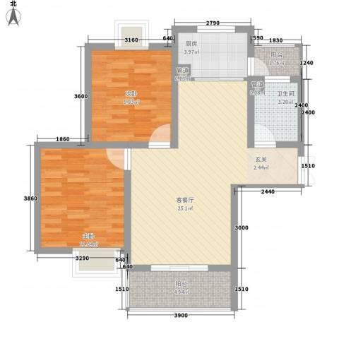 凯旋广场2室1厅1卫1厨80.00㎡户型图