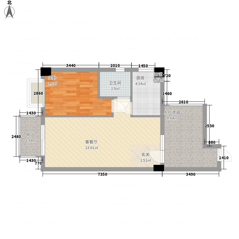 泰丰北极星75.00㎡F型户型1室2厅1卫1厨