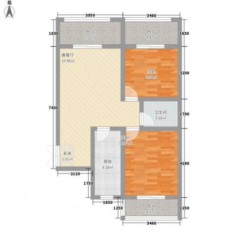 盛世华庭2室1厅1卫1厨90.00㎡户型图