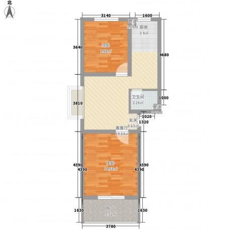 蓝钻公寓2室1厅1卫0厨73.00㎡户型图
