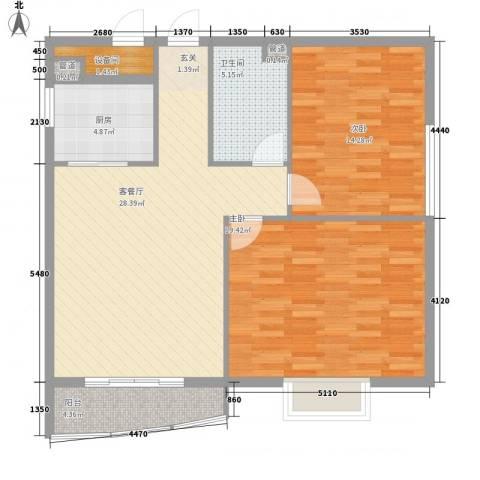 金爵世佳2室1厅1卫1厨109.00㎡户型图