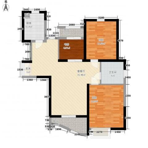 郦城国际3室1厅1卫1厨115.00㎡户型图