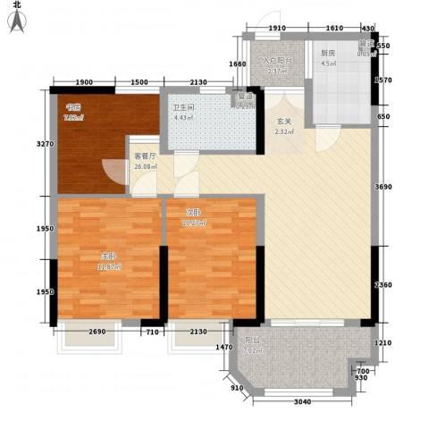 赞成香林3室1厅1卫1厨90.00㎡户型图
