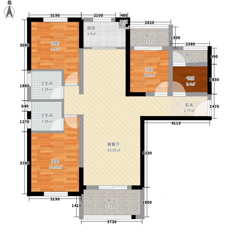 联发欣悦华庭123.00㎡E户型4室2厅2卫1厨