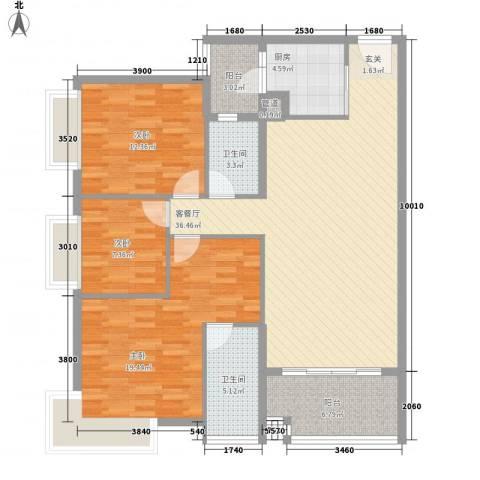 金润铂宫3室1厅2卫1厨180.00㎡户型图