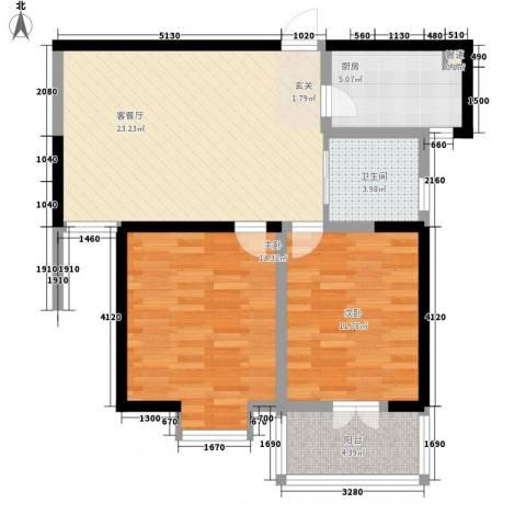 枫林雅都2室1厅1卫1厨93.00㎡户型图