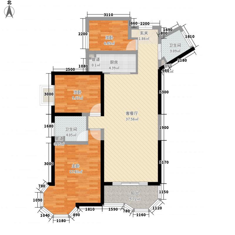 万秀阳光小区2户型3室2厅2卫1厨