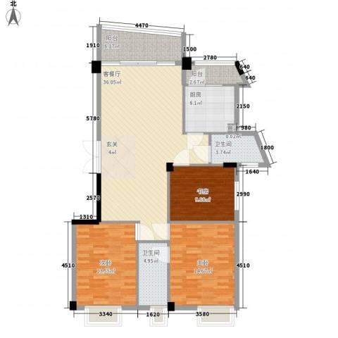 世纪康城3室1厅2卫1厨137.00㎡户型图