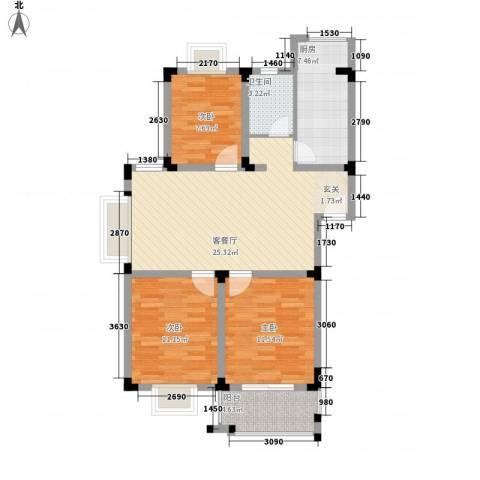 东湖山庄3室1厅1卫1厨102.00㎡户型图