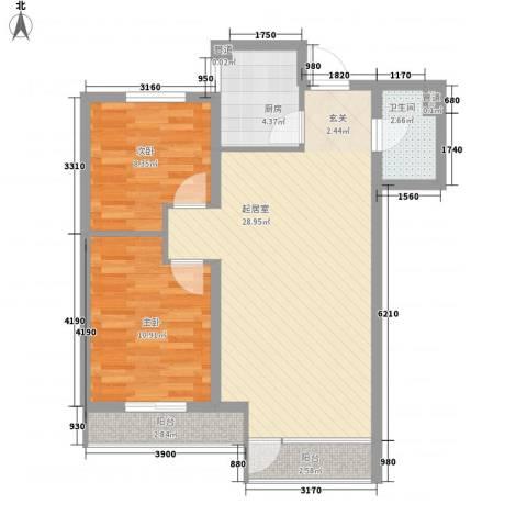 格林常青藤2室0厅1卫1厨83.00㎡户型图
