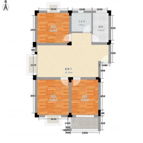 东湖山庄3室1厅1卫1厨100.00㎡户型图
