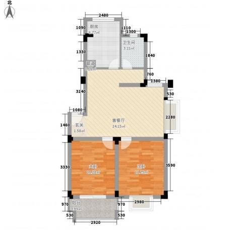 东湖山庄2室1厅1卫1厨88.00㎡户型图
