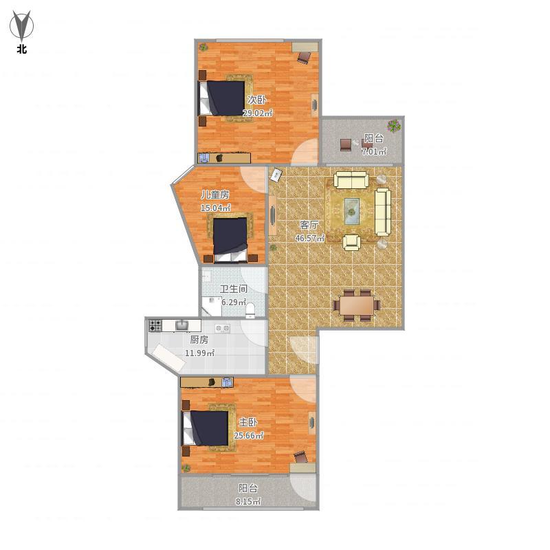 我的设计-园岭新村3房2厅