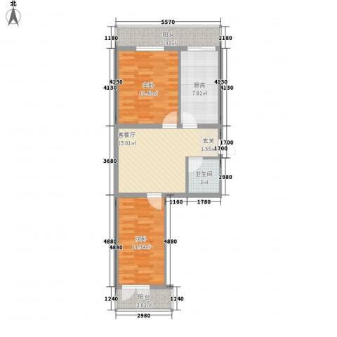 龙房名苑2室1厅1卫1厨66.00㎡户型图