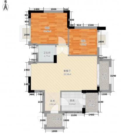 金凤豪苑2室1厅1卫1厨80.00㎡户型图