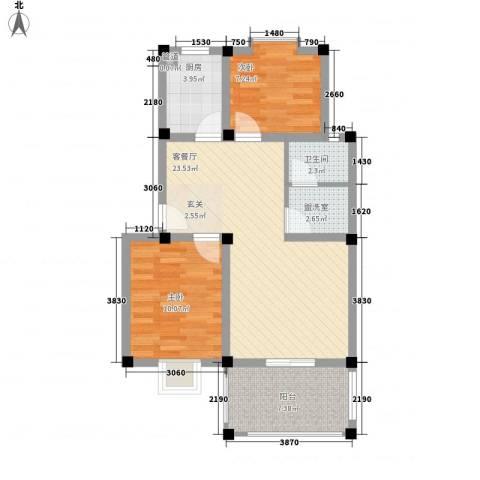 帝豪・星港湾2室1厅1卫1厨83.00㎡户型图
