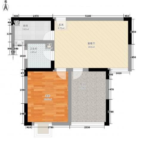 枫林雅都1室1厅1卫1厨69.00㎡户型图