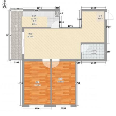 龙房名苑2室1厅1卫1厨73.00㎡户型图