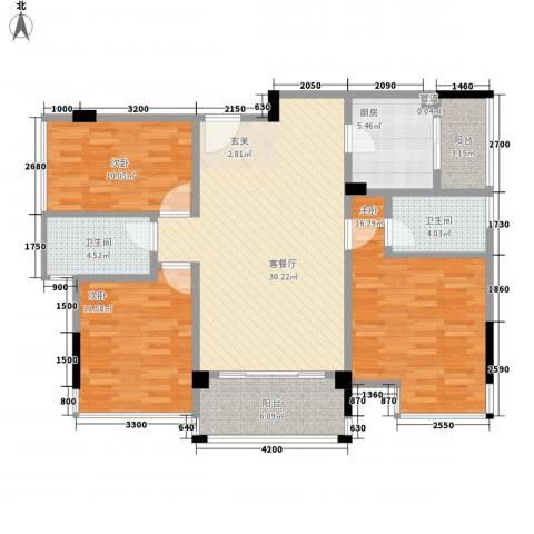 大翼龙苑3室1厅2卫1厨91.43㎡户型图
